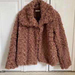 New Italian Faux Fur Sherpa Brown Jacket Coat
